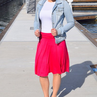 Fuchsia Fold Over Basic Skirt