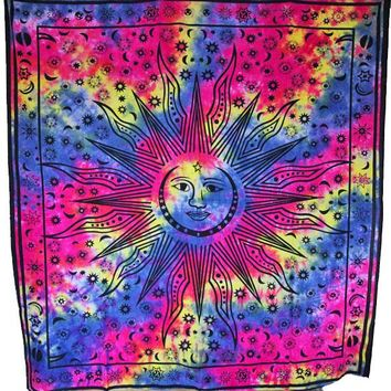 Smiling Sun with Crescent Moon & Stars Tie Dye Tapestry