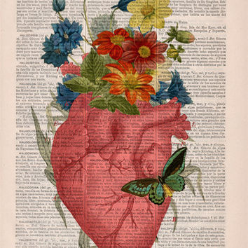 Pink Floral Heart human Anatomy Print on dictionary page -Love gift - Anatomy art, love wall art, human anatomy, science anatomy art BPSK088