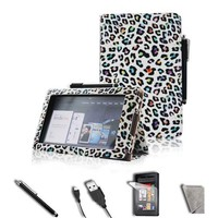 """FINTIE (Leopard Colorful) Folio Case Cover Value Package with Screen Protector/Stylus/USB cable for Amazon Kindle Fire 7"""" Tablet (does not fit Kindle Fire HD)"""
