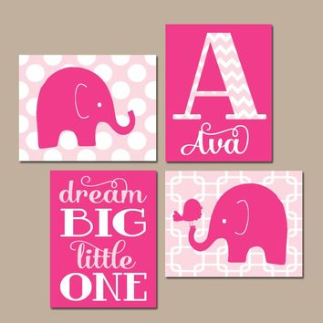 GIRL ELEPHANT Nursery Wall Art, Hot Pink Nursery Decor, Baby Girl Nursery Pictures, Dream Big Little One, Canvas or Prints Set of 4 Pictures