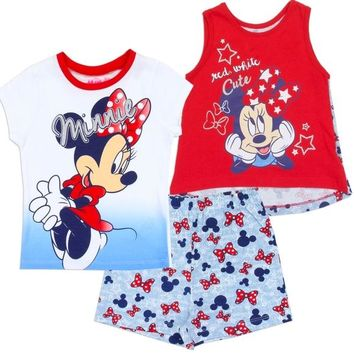 Minnie Mouse Girls 3-Piece Set. Red, White, Blue. Toddler Sizing