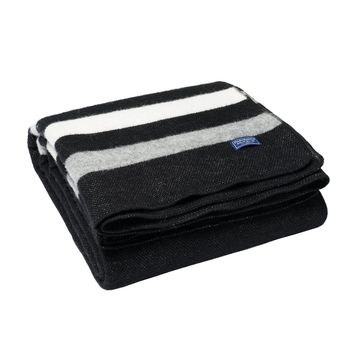 Revival Stripe Wool Throw by Faribault BLACK/GREY