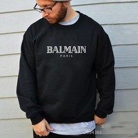 2018 BALMAIN PARIS  Women and Men  Hooide Ellesse Sweatshirt Brand Graphic Sweatshirt Zipper Cotton Hooide Unisex Sweatshirt