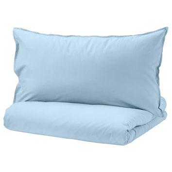 ÄNGSLILJA Duvet cover and pillowcase(s) - light blue - IKEA