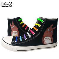 Anime Cartoon Totoro Children Kids Graffiti Canvas Shoes Boys Girls Student Hand Painted Casual Sneakers Breathable Flats Shoes