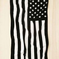 American Flag Black + White Beach Towel