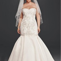 [184.99] Stunning Satin Sweetheart Neckline Plus Size Mermaid Wedding Dresses With Embroidery & Beadings - dressilyme.com