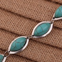 Yazilind Tibetan Silver Ellipse Adjustable Rimous Green Turquoise Link Bangle Bracelet