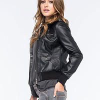 FULL TILT Faux Leather Plaid Womens Bomber Jacket | Jackets