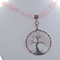 Tree of Life Spring Pink Quartz Natural Stone