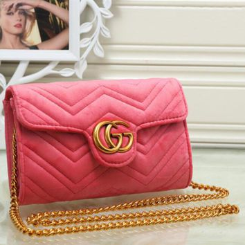 Gucci Marmont Women Shopping Leather Metal Chain Crossbody Satchel Shoulder Bag G