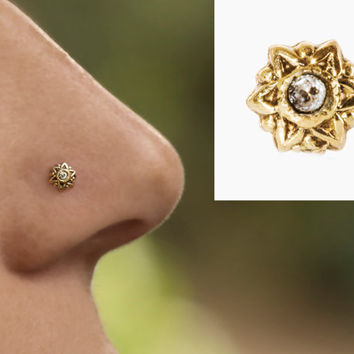 Diamond Nose stud - 14k yellow gold solid\ handmade\ gold star\ bridal nose stud\ 22 gauge\ 0.6 mm\ india nose stud\ gypsy nose ring
