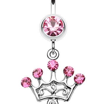 Crown Glass-Gem Sparkle Belly Button Ring