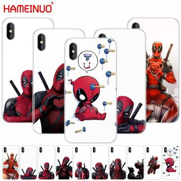 HAMEINUO 3D Super Cool Marvel Deadpool cell phone Cover case for iphone X 8 7 6 4 4s 5 5s SE 5c 6s plus