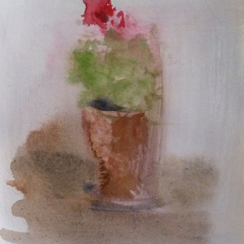 POT with FLOWERS original artwork watercolor painting drawing PARIS new wall art Bouquet Vase Home Decor house plant classical collectable