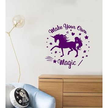 Vinyl Wall Decal Motivation Quote Fairy Tale Words Magic Unicorn Stickers (3738ig)