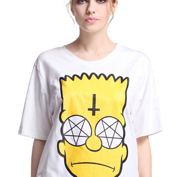 Womens Short Sleeve Emoji Printed design Summer Tee Tops