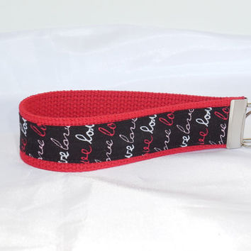 Red Keychain Wristlet With Love Fabric