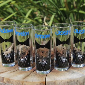10 Custom Shot Glasses Groom Tux with Name Engagement Gifts Wedding Gifts Groom Gifts Bachelor Parties Wedding Party Personalized Shot Glass
