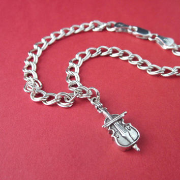Sterling Silver Musical Instrument Charm Bracelet Cello, Clarinet, Flute