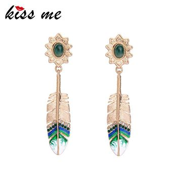 KISS ME Sweet & Cute Gold Color Alloy Enamel Crystal Feather Long Earrings 2017 New Drop Earrings Women Jewelry