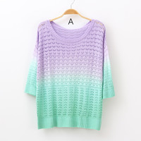 forever2you — Mixed Color Knit Sweater for Women