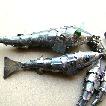 Vintage Articulated Fish Lot - Silver Fish Charms - Antique Articulated Fish Charms
