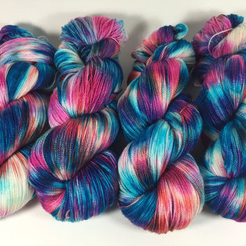 80/20 SW Merino/Silk Lace 100 grams 875 yards Color, Water Garden, Hand Dyed Yarn