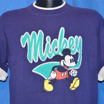 90s Mickey Mouse Walt Disney Roll Up Sleeve t-shirt Large