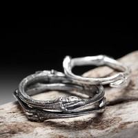 twig wedding bands, sterling silver rings - Elvish You Belong Together