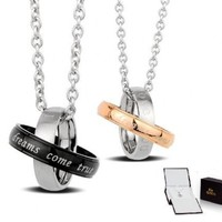 "Stainless Steel 2-tone ""Dreams Come True"" Couples Pendant Necklaces Set 18'' 20'' Chains Gift Boxed"
