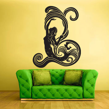 Wall Vinyl Sticker Decals Decor Art Bedroom Design Mural Shark Fish Tribal mermaid water nymph (z2018)