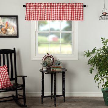 Annie Red Buffalo Check Valance