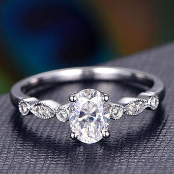 1.5 Carat Oval Shaped Cut Moissanite Ring,Moissanite Engagement Ring,Milgrain Art Deco Diamond Wedding Band,Solid 14K White Gold