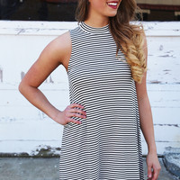 Skip A Beat Black & White Striped Swing Dress