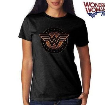 DC WONDER WOMAN SHIELD BLACK SYMBOL - WOMEN'S Licensed T-Shirt  S-XL