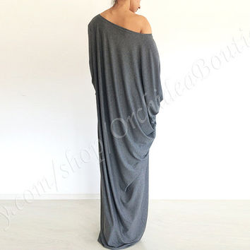 SOFIA women maxi tunic dress off-shoulder draped asymmetric oversized gray fashion plus size maternity fall winter fashion