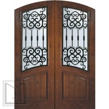 Prehung Double Door 96 Wood Alder Barcelona Arch Top Arch Lite