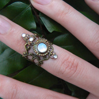 goddess midi ring, armor ring ,white opal glass ,elfin cosplay ,nail ring,boho,moon goddess ,pagan