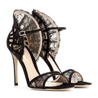gianvito rossi - suede and lace sandals