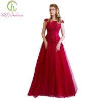 Banquet Elegant Evening Dress The Bride Wine Red Lace Flower Beading Long Party Prom Dresses Custom