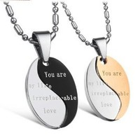 His & Hers Matching Set Titanium Couple Pendant Necklace Korean Love Style in a Gift Box (His (Black)): Jewelry: Amazon.com