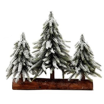 3 Small Christmas Tree with Wood Stand Flocked Snow  Christmas Decoration Tabletop centerpiece