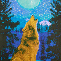 3D Wolf Tapestry Glow In The Dark Wall Hanging