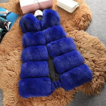 6XL 2018 2018 Winter Women Fur Vest High-Winter Faux Fox Fur Vests Woman Fake Fur Coat Jacket Female Ladies Fur Coats V149