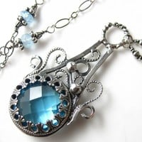 Swiss Blue Glass Necklace - Sterling silver and Swiss Blue Topaz | glowfly - Jewelry on ArtFire