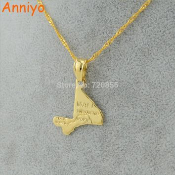 Anniyo Mali map pendant necklace chains Gold Color Jewelry Mli for Women Girl,Africa gift
