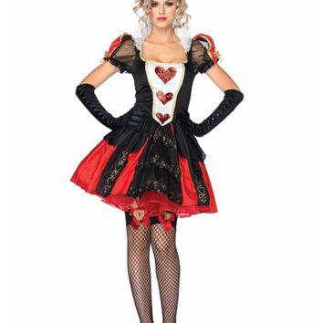 TITIVATE Alice In Wonderland Red Queen Costume Cosplay Costume Poker Red Queen Of Hearts Costume Female Elegant Dress Cosplay