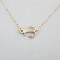Sideways Gold Anchor on 14k Gold Filled Chain - Nautical Jewelry - Delta Gamma